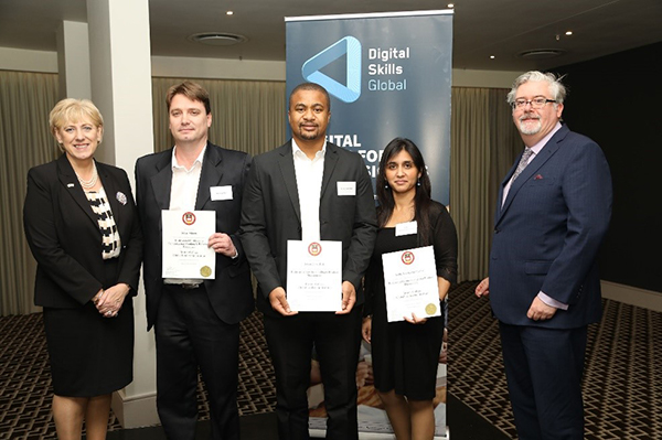 Some of ABSA's recent graduates, Johan Viljoen, Jerson Jaime Bule and Aadila Sayedabdurrahaman were presented with their certificates by Heather Humphreys TD, Ireland's Minister for Business, Enterprise, and Innovation and Digital Skills Global CEO Paul Dunne at an official ceremony in Sandton in November.